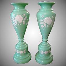 Bristol Glass Vases in Jadeite Color Glass