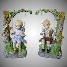 Lenwile Ardalt Bisque Porcelain Boy and Girl on Swings