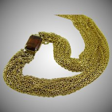 20 Strand Chain Necklace with Amber Rhinestone Clasp