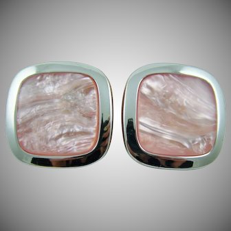 Pink Faux Pearl Square Earrings