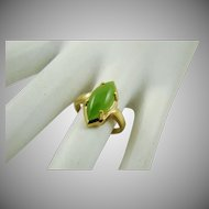 18Kt Gold Plated Jade Ring
