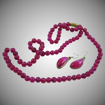 Fuschia Necklace and Earrings
