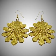 Stunning Gold Tone Repousse Earrings