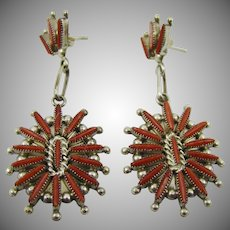 Zuni Red Coral Petit Point Earrings ~ C. Levaldo