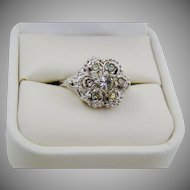 Sterling Art Deco Style Rhinestone Ring