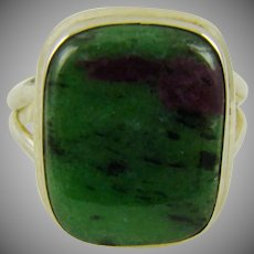 Green Turquoise With Black/Chocolate Matrix Sterling Silver Ring