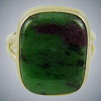 Ruby Zoisite Sterling Silver Ring