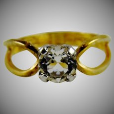 Art Deco Sterling Silver 10K Gold Filled Rock Crystal Ring