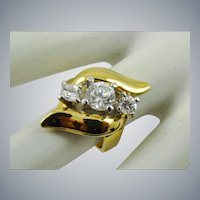 18K Gold Plated Anniversary Style Ring with Three Crystals