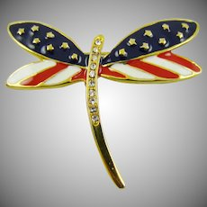 Red White and Blue Dragonfly Brooch
