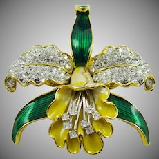 Large Orchid Flower Brooch ~ Enamel and Rhinestones