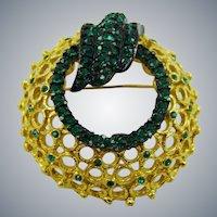 1950s Coro Emerald Green Rhinestone Wreath Brooch