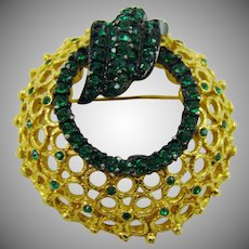 1950s Coro Emerald Green Rhinestone Wreath Brooch