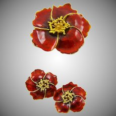 Alana Stewart Deep Red Enamel Brooch/Earrings Set