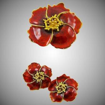 Alana Stewart Deep Red Enamel Brooch/Earrings Set