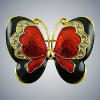 Sparkling Enameled and Rhinestone Butterfly Brooch
