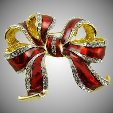 Deep Red Enamel and Rhinestone Ribbon Bow Brooch