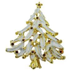 White Enameled Christmas Tree Brooch