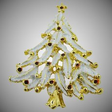 White Enameled Christmas Tree Brooch