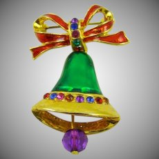 Multi Colored Christmas Bell Brooch