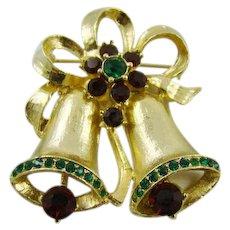 Double Gold Tone Enamel Bells with Rhinestones Brooch