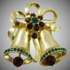 Double Gold Tone Enamel Bells with Rhinestones Brooch