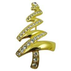 Stunning Polished Gold Tone Rhinestone Christmas Tree Brooch ~ Monet