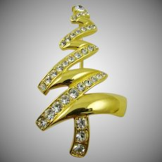 Stunning Polished Gold Tone Rhinestone Christmas Tree Brooch ~ Monet