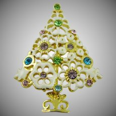 """White Enamel """"Frosted Cookie Christmas Tree"""" Brooch"""