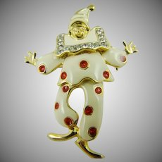 Articulated Pierrot Clown Brooch/Pendant in Enamel and Rhinestones