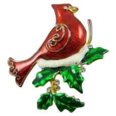 Beautiful Red Enamel Cardinal Christmas Brooch