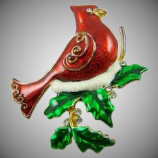 Beautiful Red Enamel Cardinal Christmas Brooch