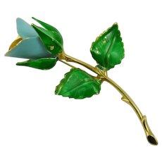 Giovanni Blue Rosebud Brooch