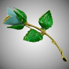 Giovanni Blue Rosebud Brooch