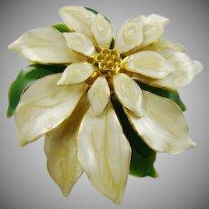 White Moire Enamel Poinsettia Brooch