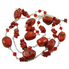 Sterling Necklace with Faux Red Turquoise and Jasper