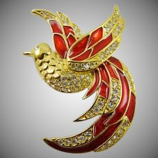 Giorgio Red Enamel and Rhinestone Phoenix Firebird Brooch