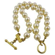 Oscar de la Renta Simulated Pearl Signed Bracelet