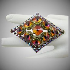 Diamond Shaped Watermelon Rivoli Stone Brooch