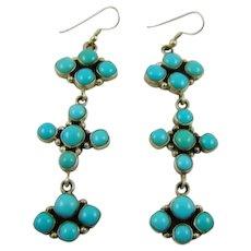 Sterling Emma Lincoln Navajo Sleeping Beauty Turquoise Earrings