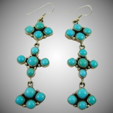 Sterling Emma Lincoln Navajo Sleeping Beauty Turquoise Earrings