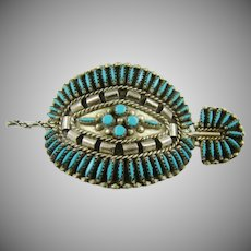 Sterling Navajo Turquoise Needlepoint Stick Hair Clip Helen Harrison