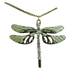 Dragonfly Enamel and Rhinestone Necklace