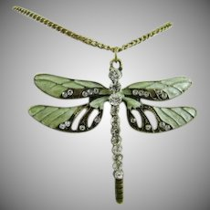 Dragonfly Enamel and Rhinestone Necklace