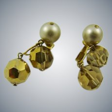 Marvella Champagne Faux Pearls and Bead Earrings