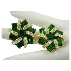 1950s Hollywood Glamour Emerald and Clear Colored Rhinestone Earrings