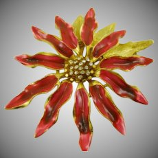 Designer Signed Red and Gold Tone Poinsettia Brooch