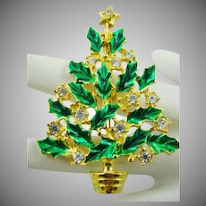 Green Enamel with Crystal Decorations Christmas Tree Brooch