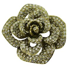 Pave` Crystal Camellia Flower Brooch