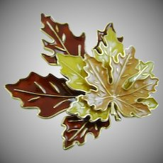 Tri-Colored Fall Maple Leaves Brooch